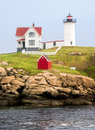 The nubble light at cape neddick maine on a small rocky island near york maine Royalty Free Stock Image