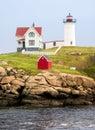 The nubble light at cape neddick maine on a small rocky island near york maine Royalty Free Stock Image