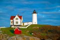 Nubble lighthouse maine beautiful view of the in Stock Images