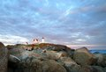 Nubble lighthouse maine beautiful view of the in Royalty Free Stock Images
