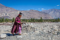 Nubra india september ladakh people in nubra india indian on the street province Stock Images