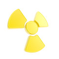 Nuclead radiation yellow glossy sign isolated Royalty Free Stock Photos