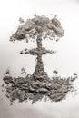 Nuclear Atom Bomb Mushroom Cloud Illustration Made Of Ash, Dust