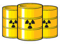 Nuclear barrels with waste barrel radioactive waste Royalty Free Stock Photography