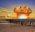 Nuclear bomb test on the ocean Royalty Free Stock Photo
