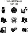 Nuclear energy icon set.