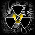 Nuclear energy radioactive pollution symbol on black industrial background Royalty Free Stock Photography