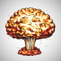 Nuclear Explosion. Atomic Bomb Mushroom Cloud Illustration Royalty Free Stock Photo