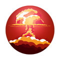 Nuclear Explosion. Cartoon Retro poster. Mushroom cloud. Vector illustration. Royalty Free Stock Photo