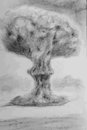 Nuclear explosion hand drawn Royalty Free Stock Photo