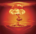 Nuclear explosion mushroom cloud illustration of a following a Stock Images