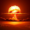 Nuclear explosion in thick smoke vector illustration Stock Photo