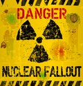 Nuclear fallout warning sign illustration worn and weathered Stock Photo