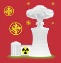 Nuclear plant with mushroom cloud Royalty Free Stock Photos