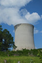 Nuclear power plant cooling tower steam pours out of a in this closeup view in rural pennsylvania Stock Images