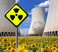 Nuclear power plant with radiation symbol Stock Images