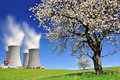Nuclear power plant in spring landscape Royalty Free Stock Image
