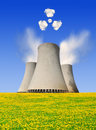 Nuclear power plant symbol radiations clouds Royalty Free Stock Photography