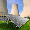 Nuclear power plant Temelin and solar panels Royalty Free Stock Photos