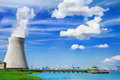Nuclear power station doel on the bank of the scheldt river Royalty Free Stock Photos