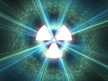 Nuclear radiation symbol on a blue background simple flat design Stock Photo
