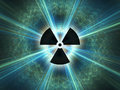 Nuclear radiation symbol on a blue background simple flat design Stock Photos