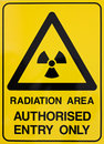 Nuclear radiation warning sign Stock Images