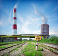 Nuclear reactor and smoke stack in afternoon Stock Image