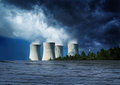 Nuclear station inundation power flooded with water concept of natural disaster Royalty Free Stock Photos