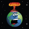 Nuclear weapon exploding on cartoon earth a forming a mushroom cloud Royalty Free Stock Photo