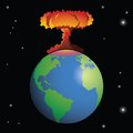 Nuclear weapon exploding on earth a forming a mushroom cloud Royalty Free Stock Image