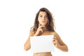 Nude brunette girl with placard Royalty Free Stock Photo