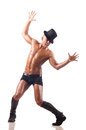 The nude man dancing on the white background Royalty Free Stock Photo