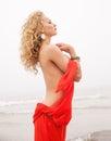 Nude Woman On Sea Beach In Fog...