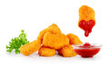 Nuggets lettuce and ketchup isolated on white background Royalty Free Stock Photos
