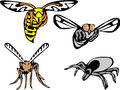Nuisance stylized wasp fly mosquito and tick color illustrations Royalty Free Stock Photos