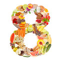 Number 8 made of food Stock Photos