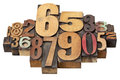 Number abstract in wood type Stock Photos