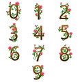 Number alphabet with red roses