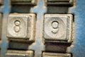 Number on button number telephone selective focus of in different styles and colors concept and idea image Stock Photos