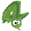Number cartoon funny lizard green Royalty Free Stock Photo