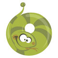 Number cartoon funny snake making a circle with its body Royalty Free Stock Photos
