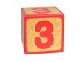 Number 3 - Childrens Alphabet Block. Royalty Free Stock Photo