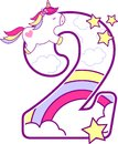 Number 2 with cute unicorn and rainbow Royalty Free Stock Photo