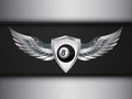 Number eight black ball and shield with wings