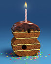 Number eight shaped birthday cake Stock Photo
