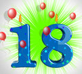 Number eighteen party show teen birthday or decoration showing Stock Photo