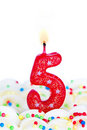Number five candle Royalty Free Stock Photo