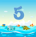 Number five with fish in the ocean illustration Stock Image