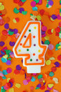 Number four birthday candle Royalty Free Stock Images